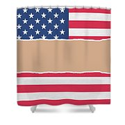 Usa Wrapping Paper Torn Through The Centre Shower Curtain