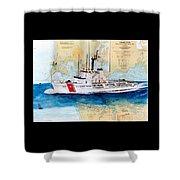 Uscg Alert Coast Guard Chart Map Art Peek Shower Curtain