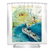 Uscg Chase Helicopter Chart Map Art Peek Shower Curtain