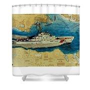 Uscg Cuttyhunk Nautical Chart Art Peek Shower Curtain