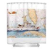 Uscg Sapelo Helicopter Fl Nautical Chart Map Art Peek Shower Curtain