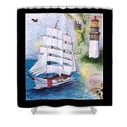 Uscg Tall Ship Eagle Chart Art Peek Shower Curtain