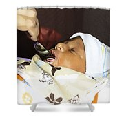 Using A Spoon To Feed A 4 Day Old Indian Baby Boy With Milk Shower Curtain