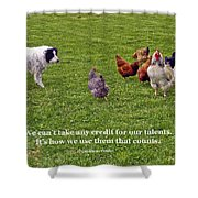 Using Talents Shower Curtain