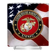 U S M C Eagle Globe And Anchor - E G A Over American Flag. Shower Curtain