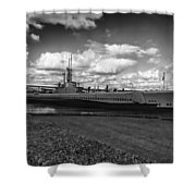 Uss Bowfin-black And White Shower Curtain