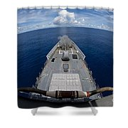 Uss Cowpens Fires Its Mk 45 Mod 2 Gun Shower Curtain