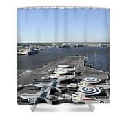 Uss Enterprise Arrives At Naval Station Shower Curtain by Stocktrek Images