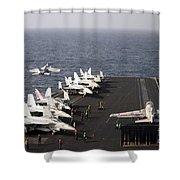 Uss Enterprise Conducts Flight Shower Curtain by Stocktrek Images
