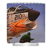 Uss Forrestal Vought Corsair Shower Curtain