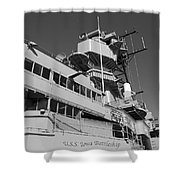 Uss Iowa Battleship Portside Bridge 01 Bw Shower Curtain