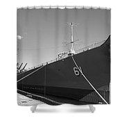 Uss Iowa Battleship Starboard Side Bw Shower Curtain