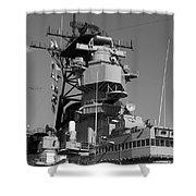 Uss Iowa Battleship Starboardside Bridge 02 Bw Shower Curtain
