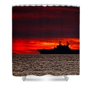 Uss Makin Island At Sunset Shower Curtain
