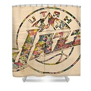 Utah Jazz Poster Art Shower Curtain by Florian Rodarte