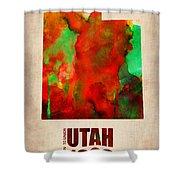 Utah Watercolor Map Shower Curtain by Naxart Studio