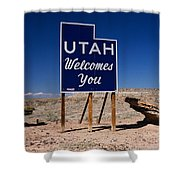 Utah Welcomes You State Sign Shower Curtain