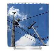 Utility Poles And Clouds 2 Shower Curtain