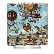 Utopian Flying Machines 19th Century Shower Curtain