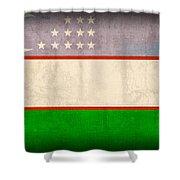 Uzbekistan Flag Vintage Distressed Finish Shower Curtain