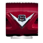 V Eight Red Shower Curtain