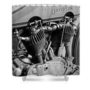 V-twin Engine Shower Curtain