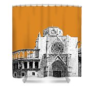 Valencia Skyline Valencia Cathedral - Dark Orange Shower Curtain