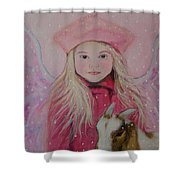 Valentina Little Angel Of Perseverance And Prosperity Shower Curtain by The Art With A Heart By Charlotte Phillips