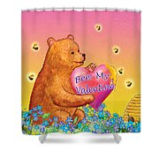 Valentine Baby Bear Shower Curtain