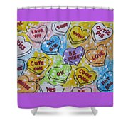 Valentine Candy Hearts Shower Curtain
