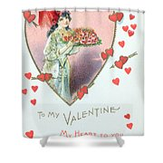 Valentine Card Shower Curtain by English School