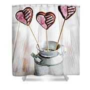 Valentine Cookie Pops Shower Curtain