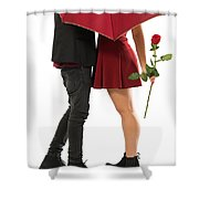 Valentines Couple Shower Curtain by Carlos Caetano