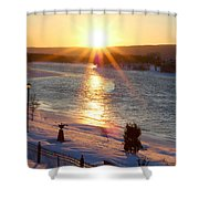 Valentines Day Snowstorm Sunset Shower Curtain