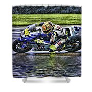 Valentino Rossi At Indy Shower Curtain