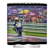 Valentino Rossi Fans Line The Fence Shower Curtain