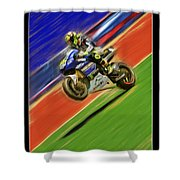Valentino Rossi Wheely Down The Blue Red And Green Shower Curtain