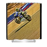 Valentino Rossi Wheely Down The Corkscrew Shower Curtain