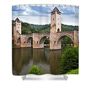 Valentre Bridge In Cahors France Shower Curtain