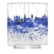 Valletta Skyline In Blue Watercolor On White Background Shower Curtain