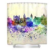 Valletta Skyline In Watercolor Background Shower Curtain