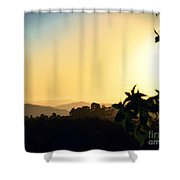Valley Center Sunset Digital Paint Effect Shower Curtain