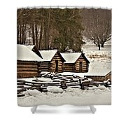 Valley Forge Cabins In Snow 2 Shower Curtain