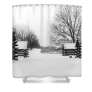 Valley Forge Cabins In Snow Shower Curtain
