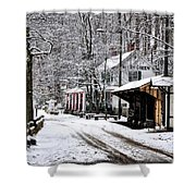Valley Green In Winter Along Forbidden Drive Shower Curtain