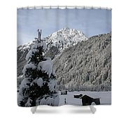 Valley In The Snow Shower Curtain