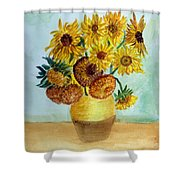 van Gogh Sunflowers in watercolor Shower Curtain