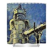 The Frozen Lighthouse Lake Michigan Shower Curtain