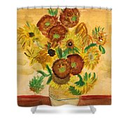 van Gogh's Sunflowers in Watercolor Shower Curtain