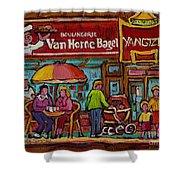 Van Horne Bagel With Yangtze Restaurant Montreal Street Scene Shower Curtain by Carole Spandau